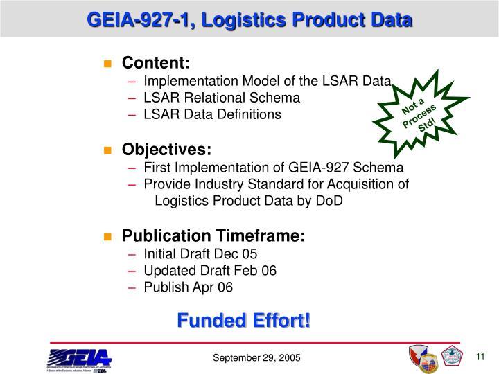 GEIA-927-1, Logistics Product Data