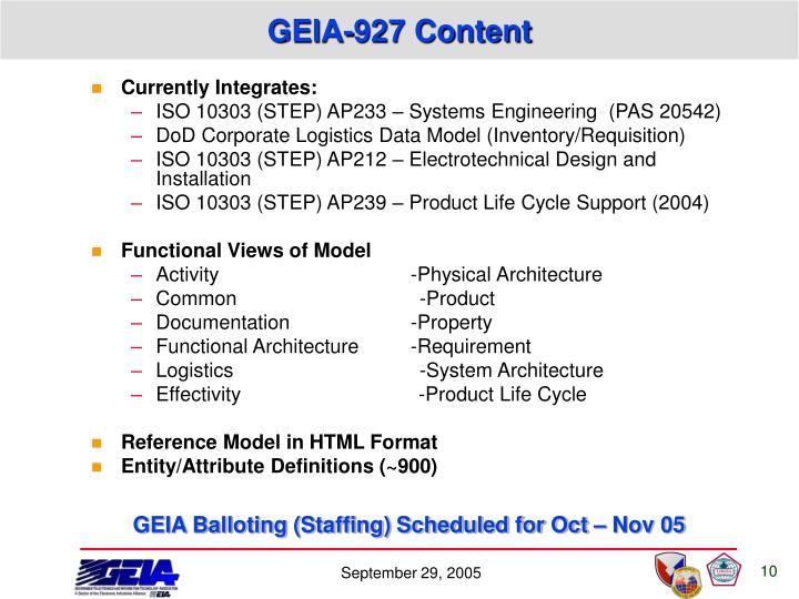 GEIA-927 Content