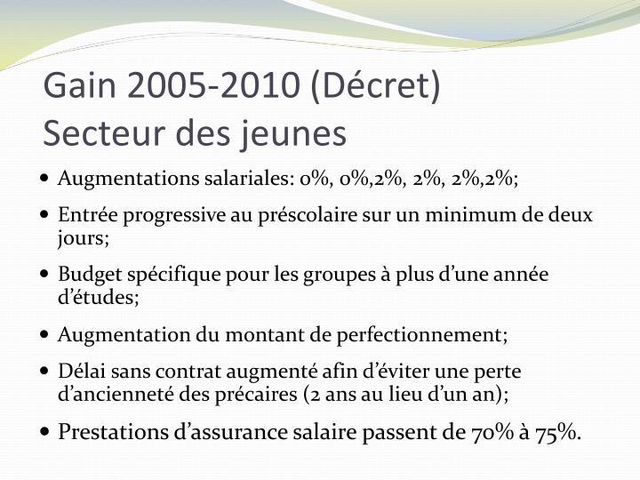 Gain 2005-2010 (Décret