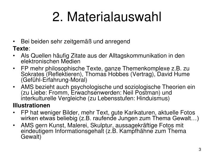 2. Materialauswahl
