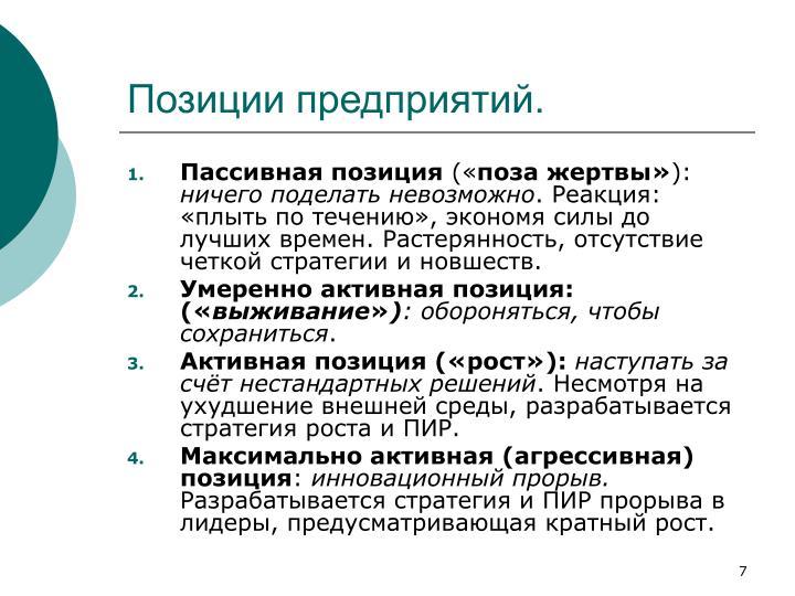 Позиции предприятий.