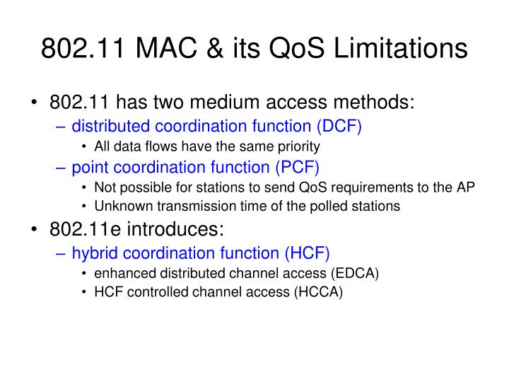 802.11 MAC & its QoS Limitations