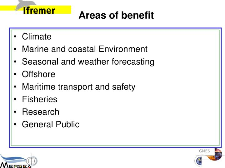 Areas of benefit