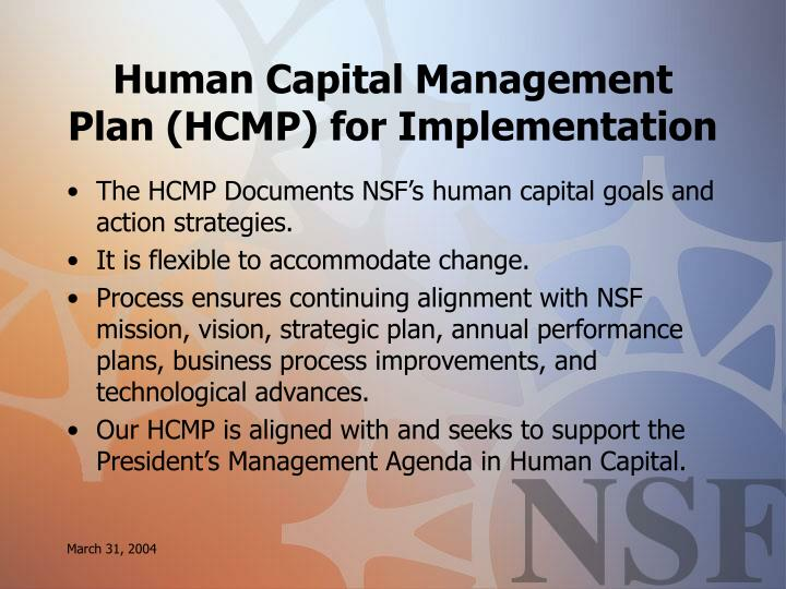 Human Capital Management Plan (HCMP) for Implementation