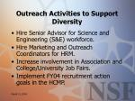 outreach activities to support diversity