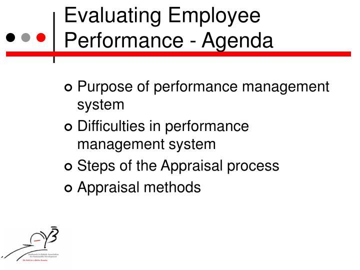 Evaluating Employee Performance - Agenda