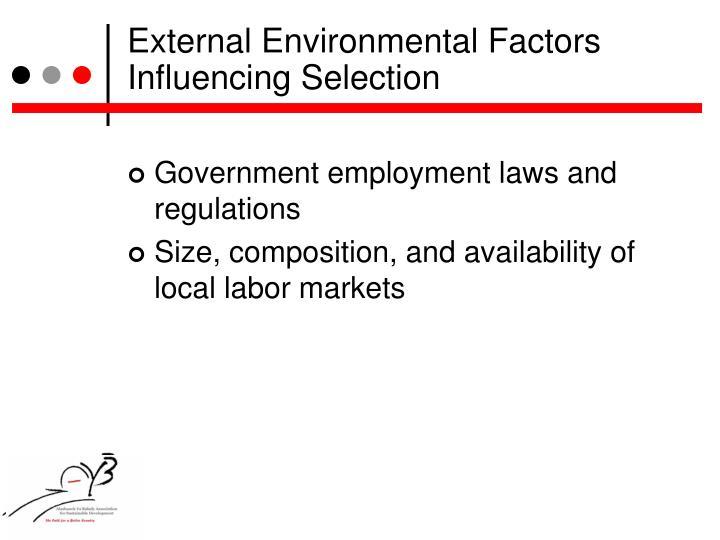 External Environmental Factors Influencing Selection
