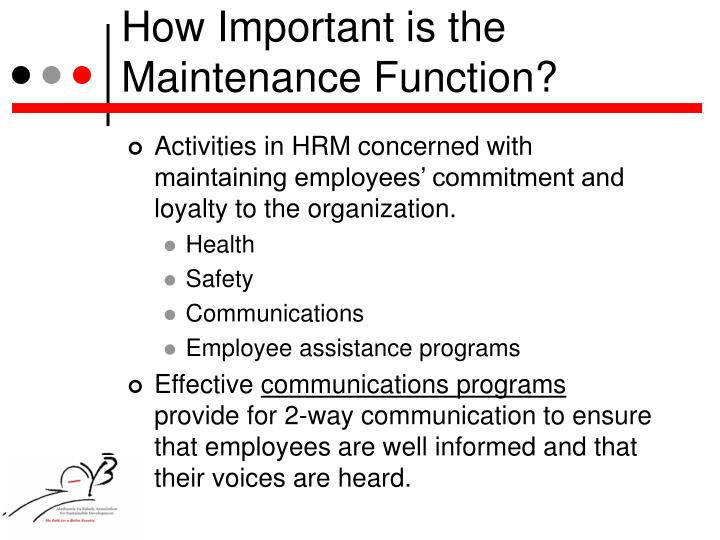 How Important is the Maintenance Function?