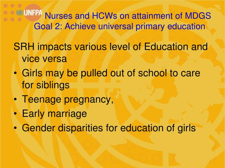Nurses and HCWs on attainment of MDGS