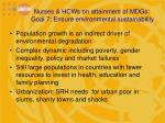 nurses hcws on attainment of mdgs goal 7 ensure environmental sustainability