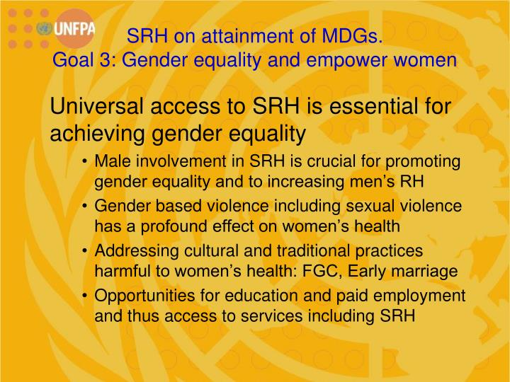 SRH on attainment of MDGs.