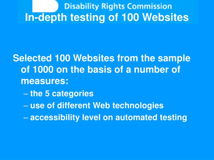 In-depth testing of 100 Websites
