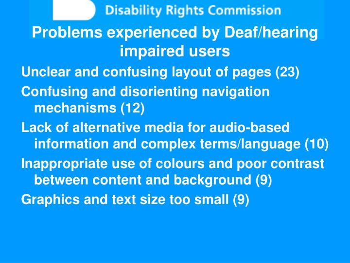 Problems experienced by Deaf/hearing impaired users