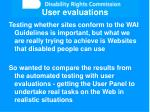 user evaluations