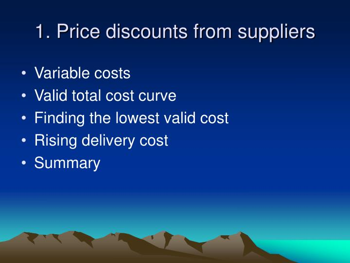 1 price discounts from suppliers