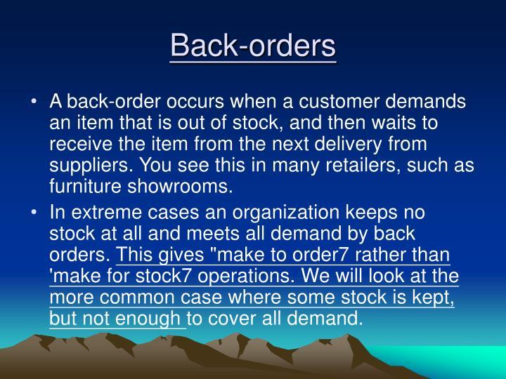 Back-orders