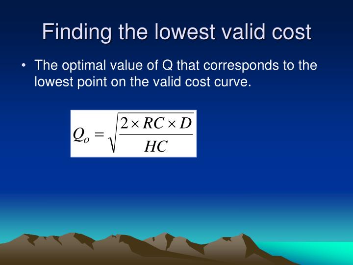 Finding the lowest valid cost