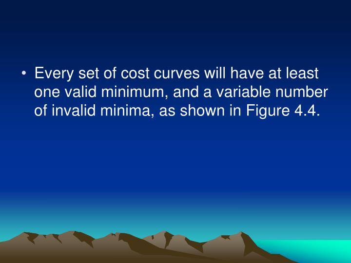 Every set of cost curves will have at least one valid minimum, and a variable number of invalid minima, as shown in Figure 4.4.