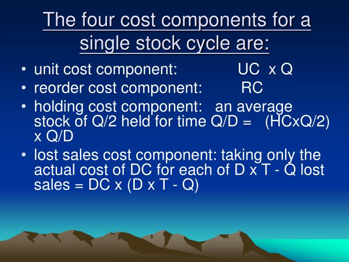 The four cost components for a single stock cycle are: