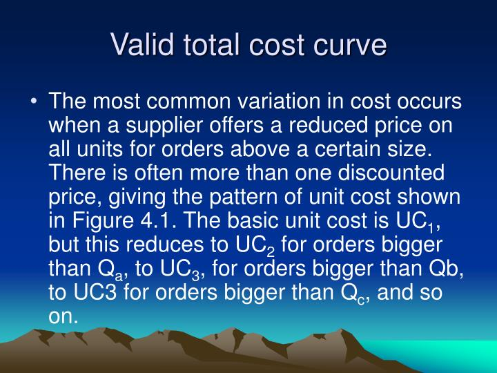 Valid total cost curve