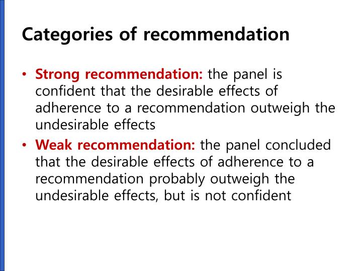 Categories of recommendation