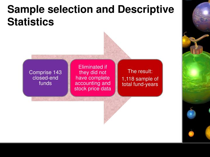 Sample selection and Descriptive Statistics