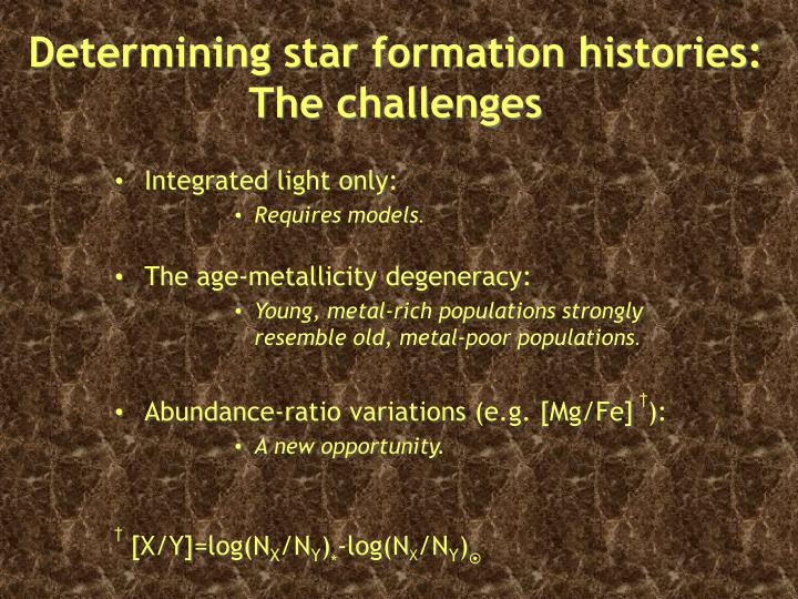 Determining star formation histories: The challenges