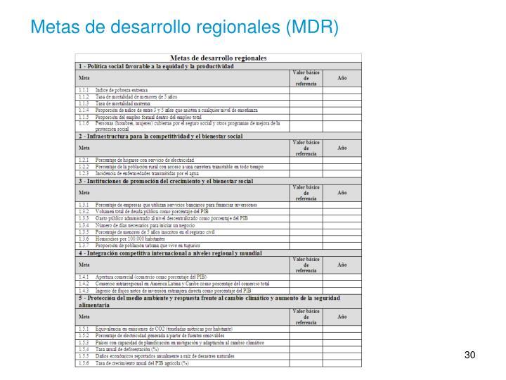 Metas de desarrollo regionales (MDR)