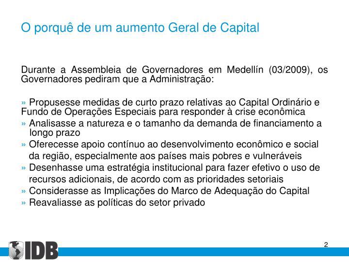 O porquê de um aumento Geral de Capital