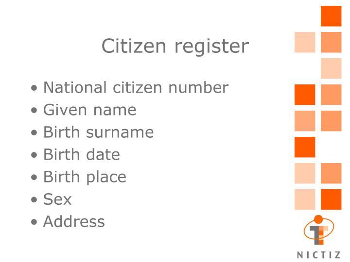 Citizen register