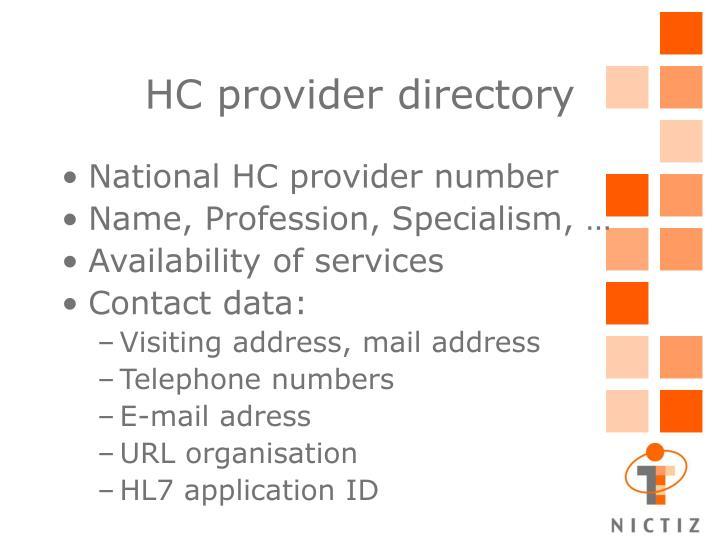 HC provider directory