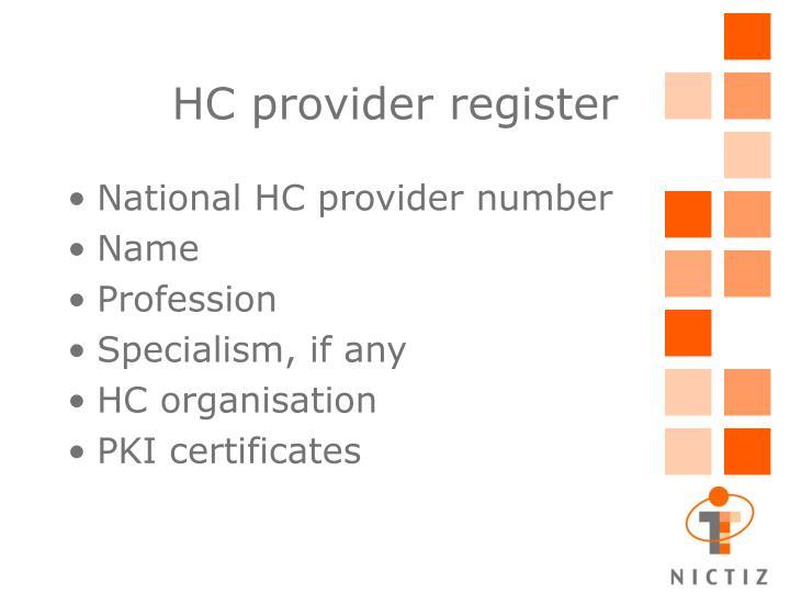 HC provider register