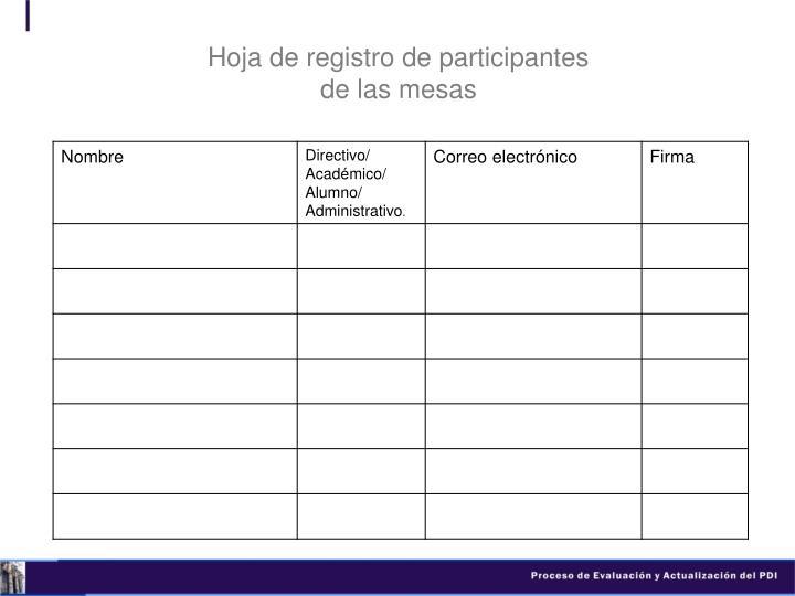 Hoja de registro de participantes