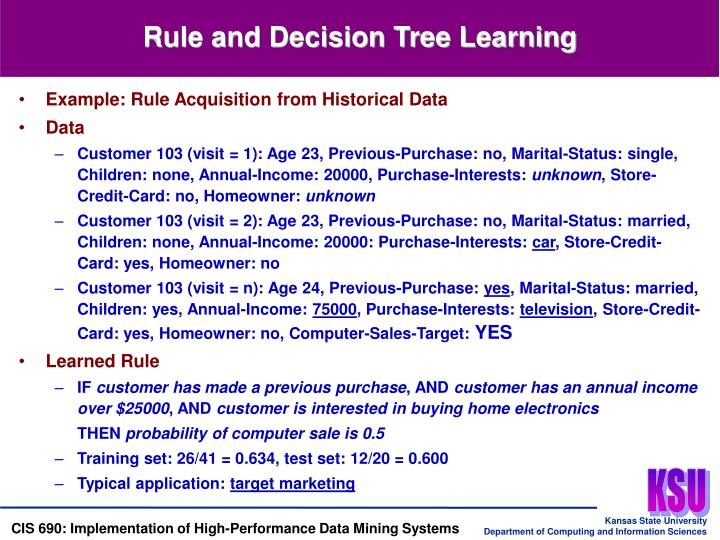 Rule and Decision Tree Learning
