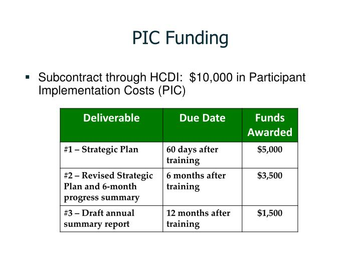 PIC Funding