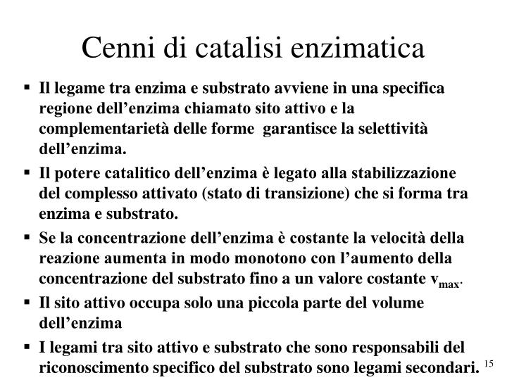 Cenni di catalisi enzimatica
