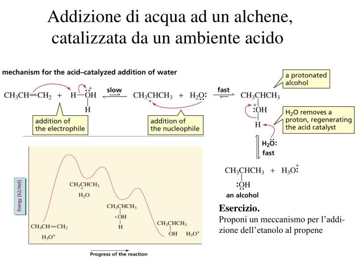 Addizione di acqua ad un alchene,