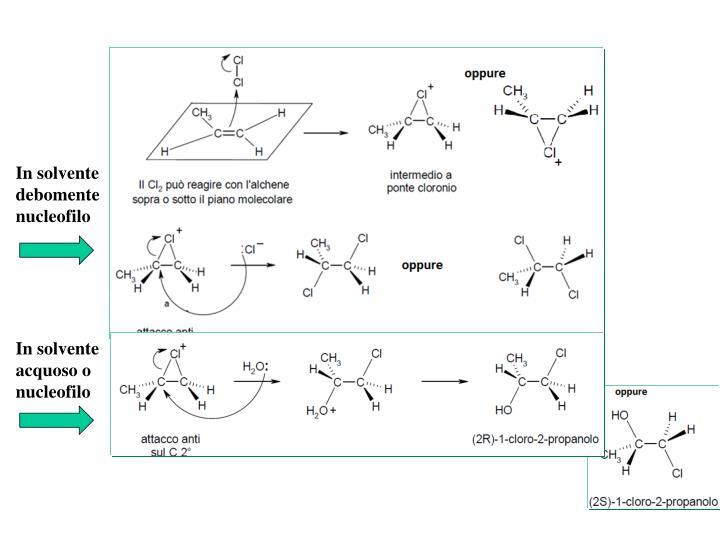 In solvente debomente nucleofilo