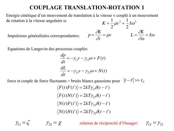 Energie cinétique d'un mouvement de translation à la vitesse v couplé à un mouvement