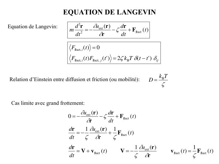 EQUATION DE LANGEVIN