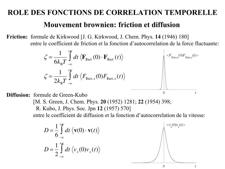ROLE DES FONCTIONS DE CORRELATION TEMPORELLE