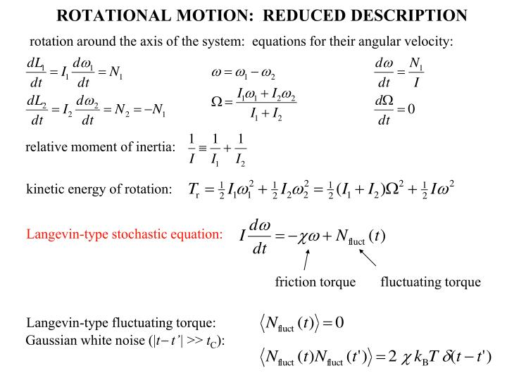 rotation around the axis of the system:  equations for their angular velocity: