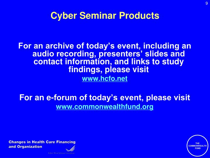 Cyber Seminar Products