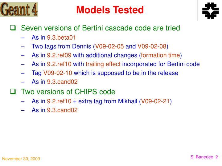 Models Tested
