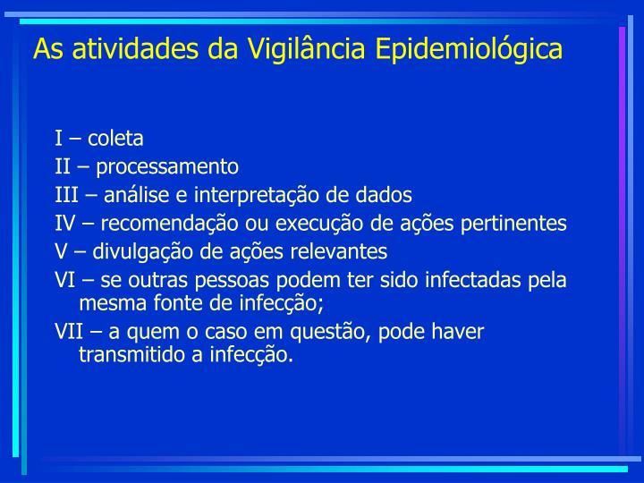 As atividades da Vigilância Epidemiológica