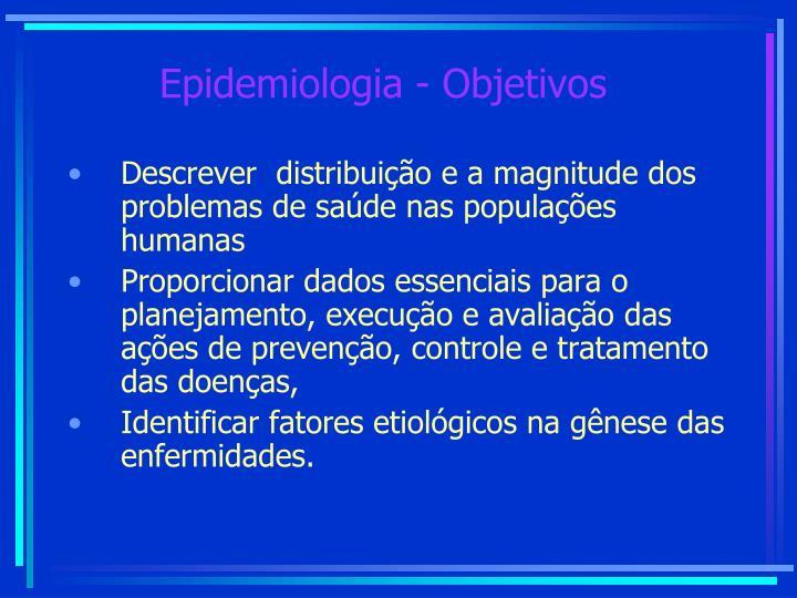 Epidemiologia - Objetivos