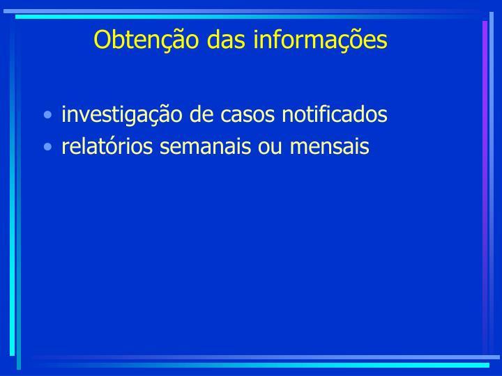 Obtenção das informações