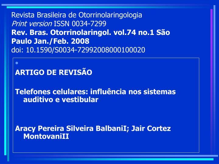 Revista Brasileira de Otorrinolaringologia