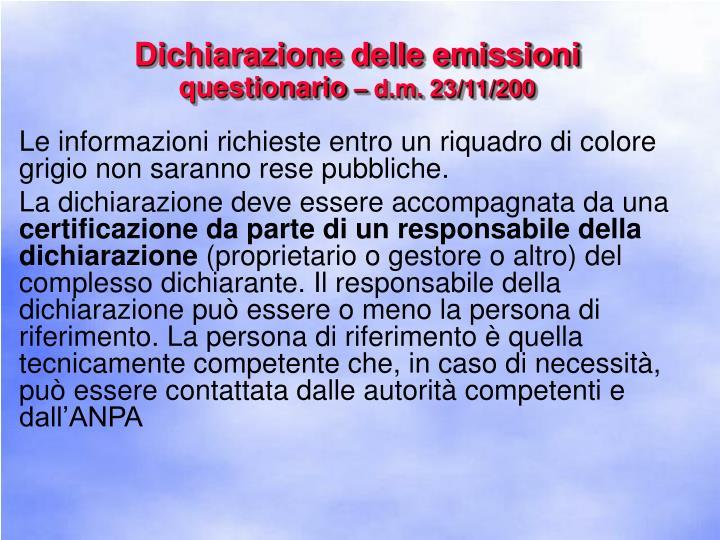Dichiarazione delle emissioni