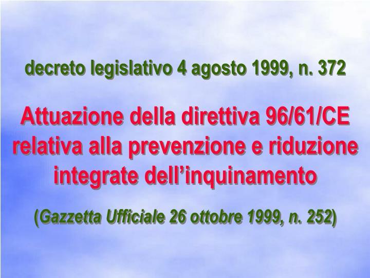 decreto legislativo 4 agosto 1999, n. 372